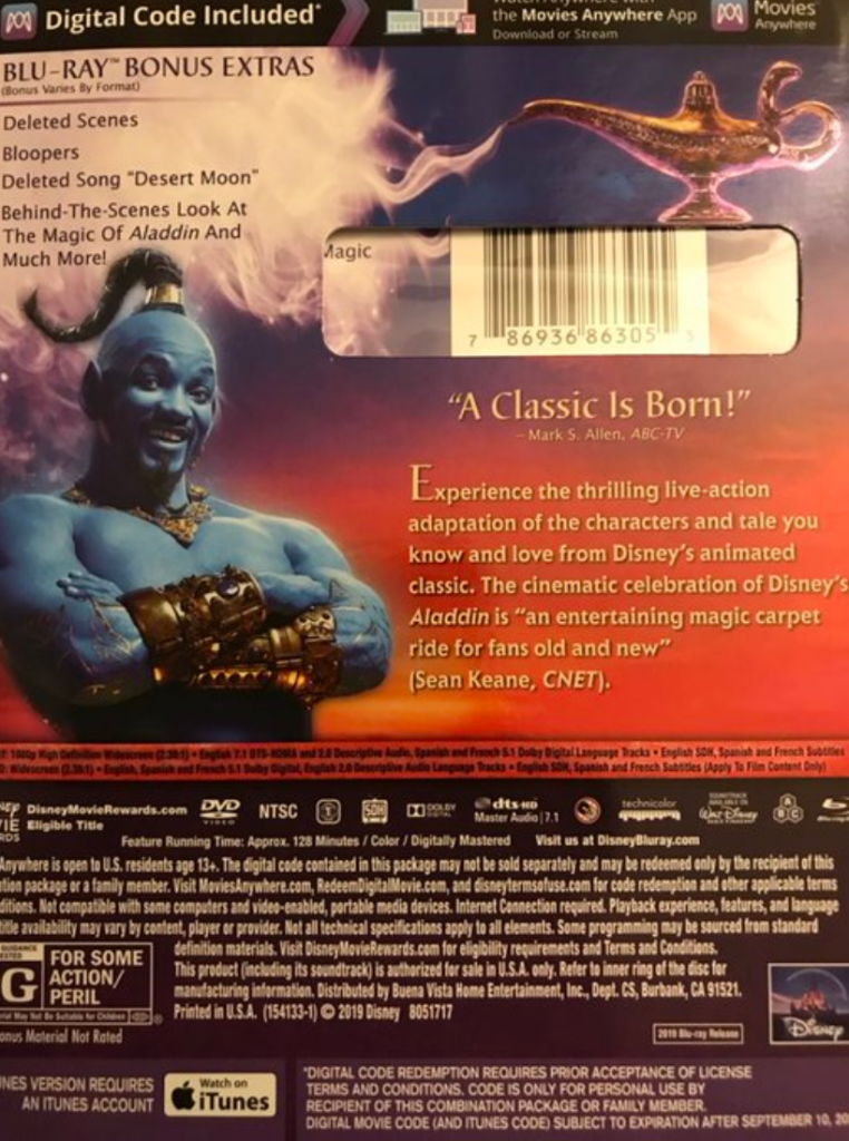 Disney live-action Blu-ray review Genie