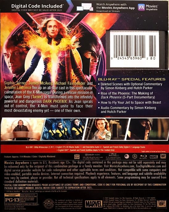 Dark Phoenix Movie (Back Cover)