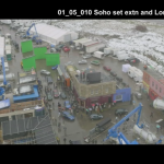 Good Omens Deleted Scene featuring a very wide angle of the entire bookshop set. Snow is on the ground.