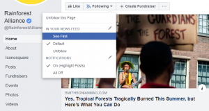 "The ""Following"" button on a Facebook page has a drop down menu. Select ""see first"" from this menu so you won't miss posts from your favorite pages. Celebrate Good Omens Day by widening your news sources about the issues that affect the planet the most."