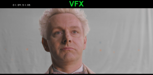 Good Omens Deleted Scene where Crowley-As-Aziraphale glares smugly into the camera with a slight smirk. His expression overall is dangerous.