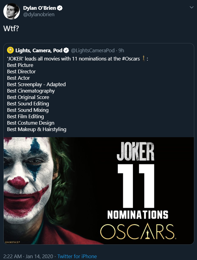 Oscar 2020 Joker Dylan O'Brien