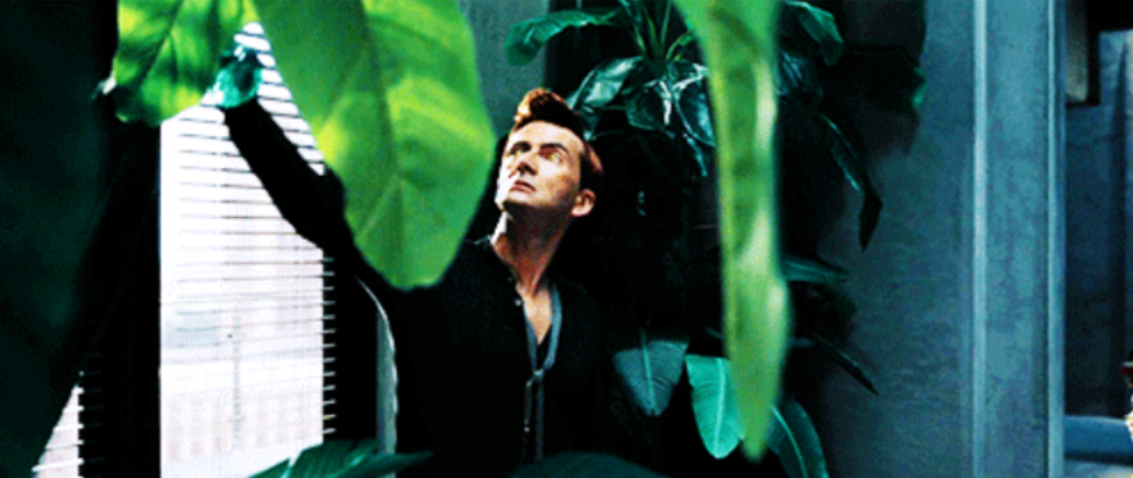 One of the images from the tumblr post about Good Omens' non-binary representation. Crowley reaches up to water his plants, and his movements were described as being reminiscent of one of Tilda Swinton's roles.