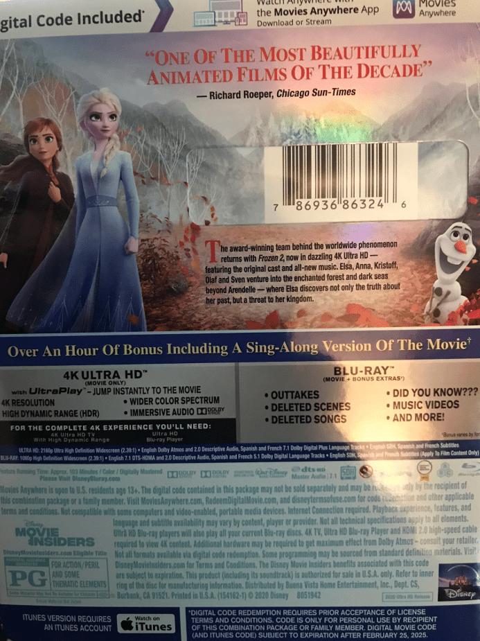 Frozen 2 4K UHD Blu-ray DVD
