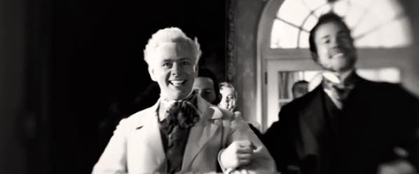 An old-timey photo of Aziraphale dancing at the discreet gentlemen's club. He has a radiant smile on his face.