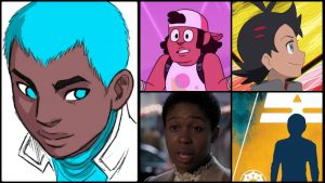Marvel's regrettably-named nonbinary character, Snowflake is depicted in a sketch on the left. They have dark skin and short blue hair. Their eyes are turned to the right as if they're looking at the four characters we're recommending instead.