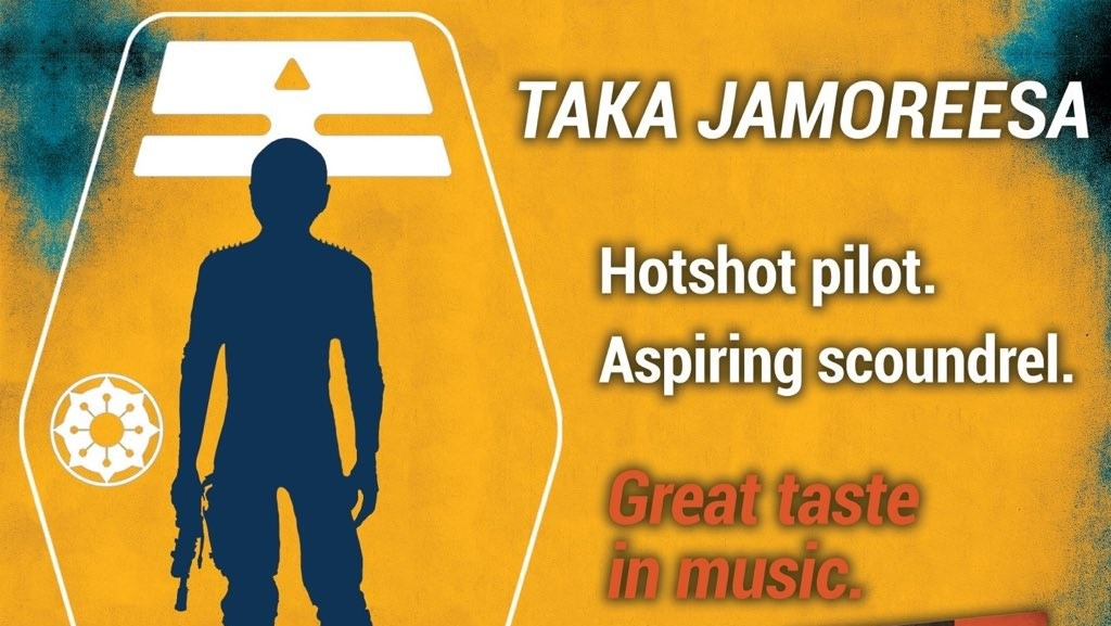 "A promotional silhouette of Taka Jamoreesa accompanying the text ""Hotshot pilot, aspiring scoundrel, great taste in music."" They're a short, bald, slender human."