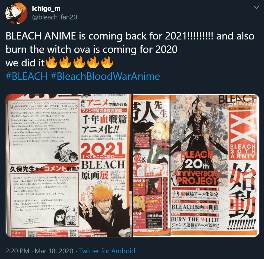 Bleach anime 2021