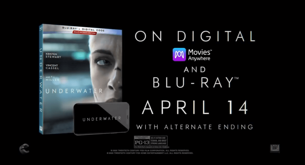 Underwater Blu-ray Digital DVD release April 2020
