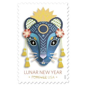 A stamp featuring a blue artistic rat face is depicted in a traditional Chinese style with flowers, tassels, and sun imagery