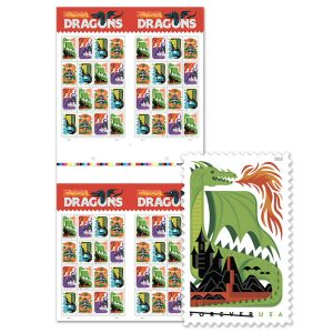 Pop art dragon stamps in bulk. Individual sheets are already sold out on account of so many people saving the post office