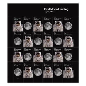 A sheet of stamps alternating between an image of an astronaut and in image of the moon, all on a black background