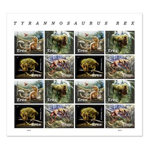 A sheet of stamps featuring four different t-rex paintings