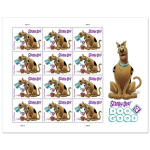 A sheet of stamps featuring Scooby-Doo (a cartoon Great Dane, brown with black spots) watering a potted plant
