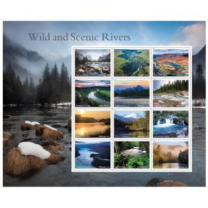 A sheet of stamps featuring twelve different beautiful rivers in natural settings