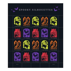 A sheet of stamps featuring a variety of dark windows. Each one has a spooky silhouette outlined. Each has a different background color (Lime green, orange, purple, and red)