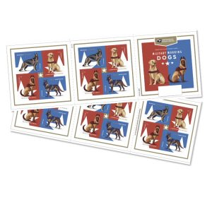 Two stamp sheets featuring various Military Working Dog breeds such as German Shepherds. Background is red white and blue