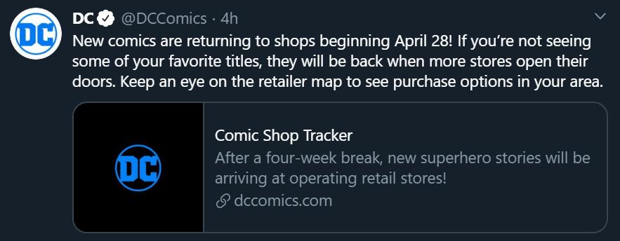 DC Comics Resume April 28, 2020