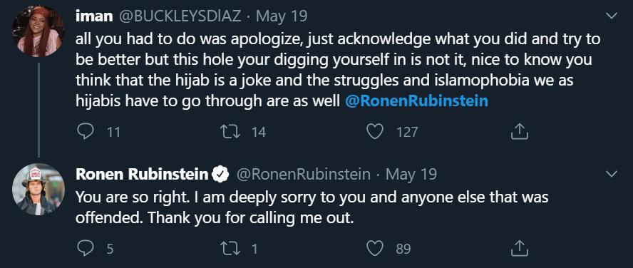Ronen Rubinstein hijab joke