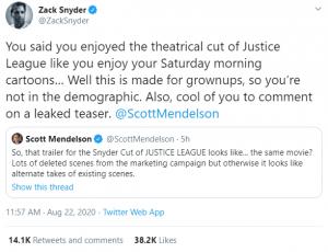 Zack Snyder and Scott Mendelson Twitter Exchange
