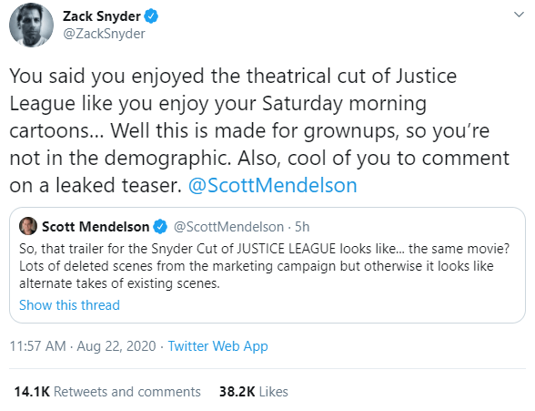 Zack Snyder and Scott Mendelson Twitter Exchange