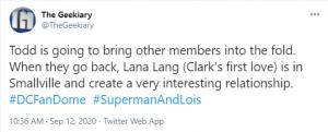 Todd Helbing Tweet Superman and Lois