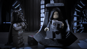Lego Emperor Palpatine frowns at a mug in his hand while Lego Darth Vader looks up at him
