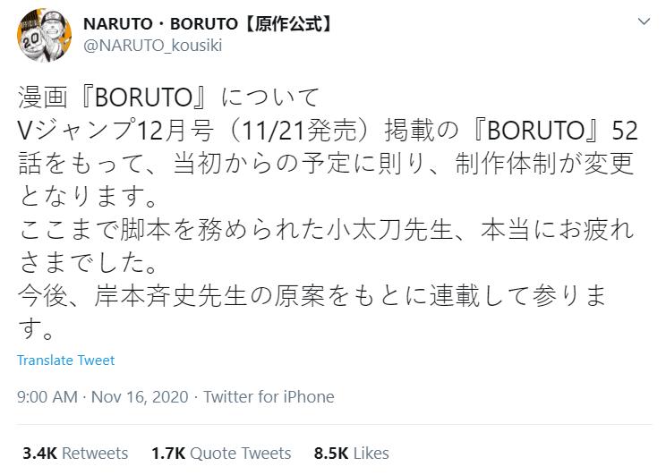 kishimoto writing Boruto manga