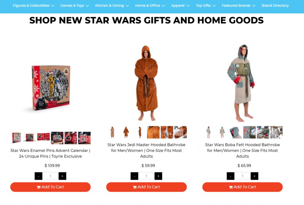 Star Wars home goods Toynk 2020