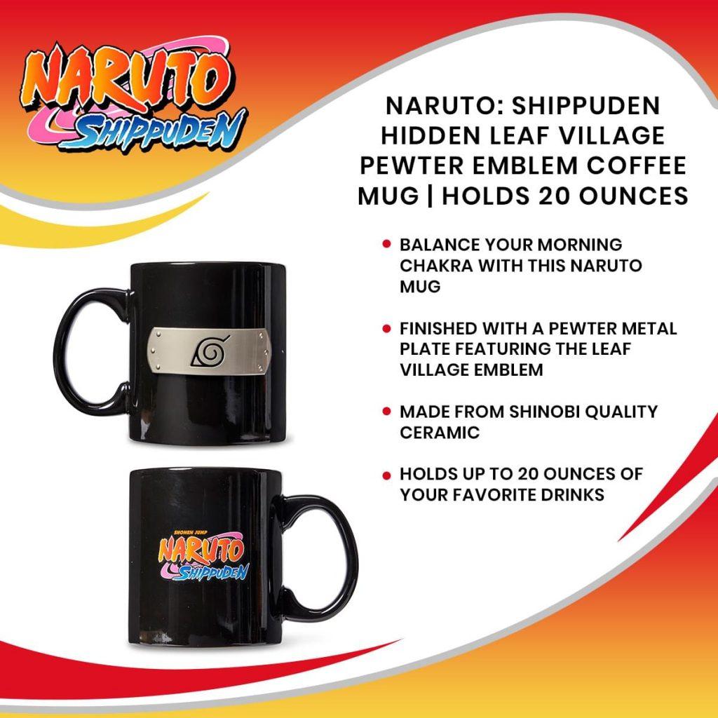 Naruto: Shippuden Hidden Leaf Village Pewter Emblem Coffee Mug | Holds 20 Ounces