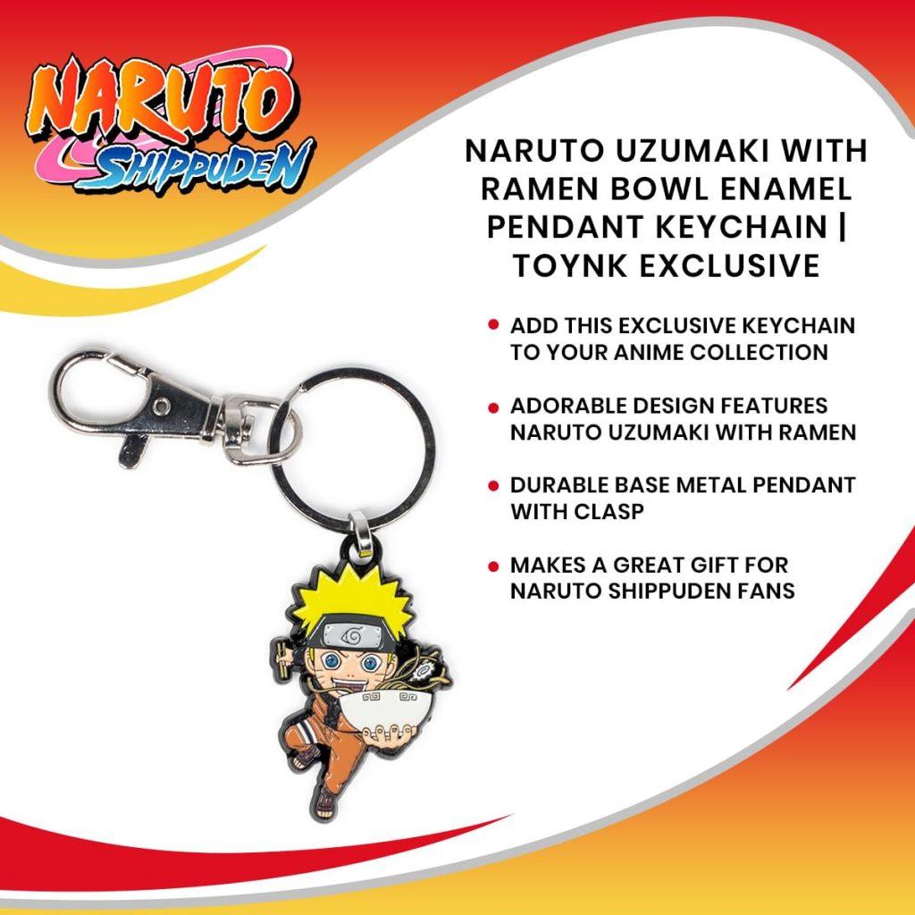 Naruto Uzumaki With Ramen Bowl Enamel Pendant Keychain | Toynk Exclusive
